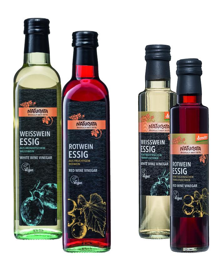 Rotweinessig und Weißweinessig von NATURATA, demeter und kBA